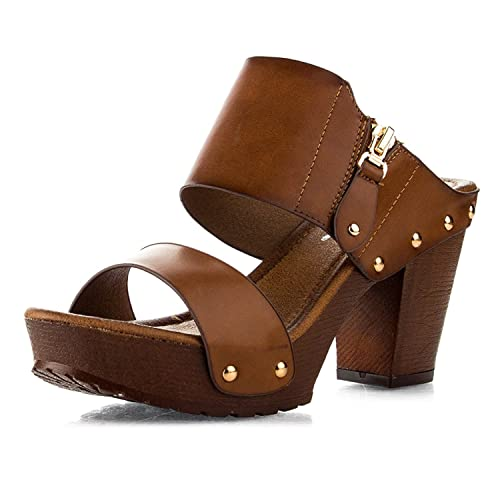 cd33767f0c5 Women s Chunky Platform Heel Sandals Block High Heel Slide Studded Slip on  Summer Holiday Shoes VT03
