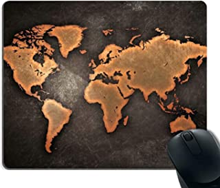 World Map Mouse Pad Custom Rectangular Mousepad Non-Slip Rubber Gaming Mouse Pad Vintage Black Map Design Desk Decor Mouse Pads for Home and Office Work