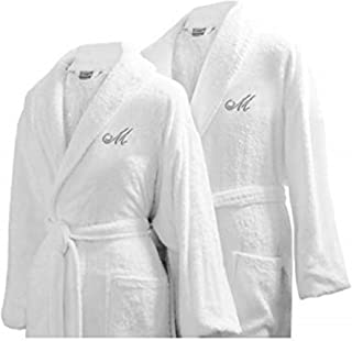 Luxor Linens Couple's Terry Cloth Bathrobe Egyptian Cotton Unisex/One Size Luxurious Soft Plush Elegant San Marco (One Size with Gift Packaging, Custom Monogram) White