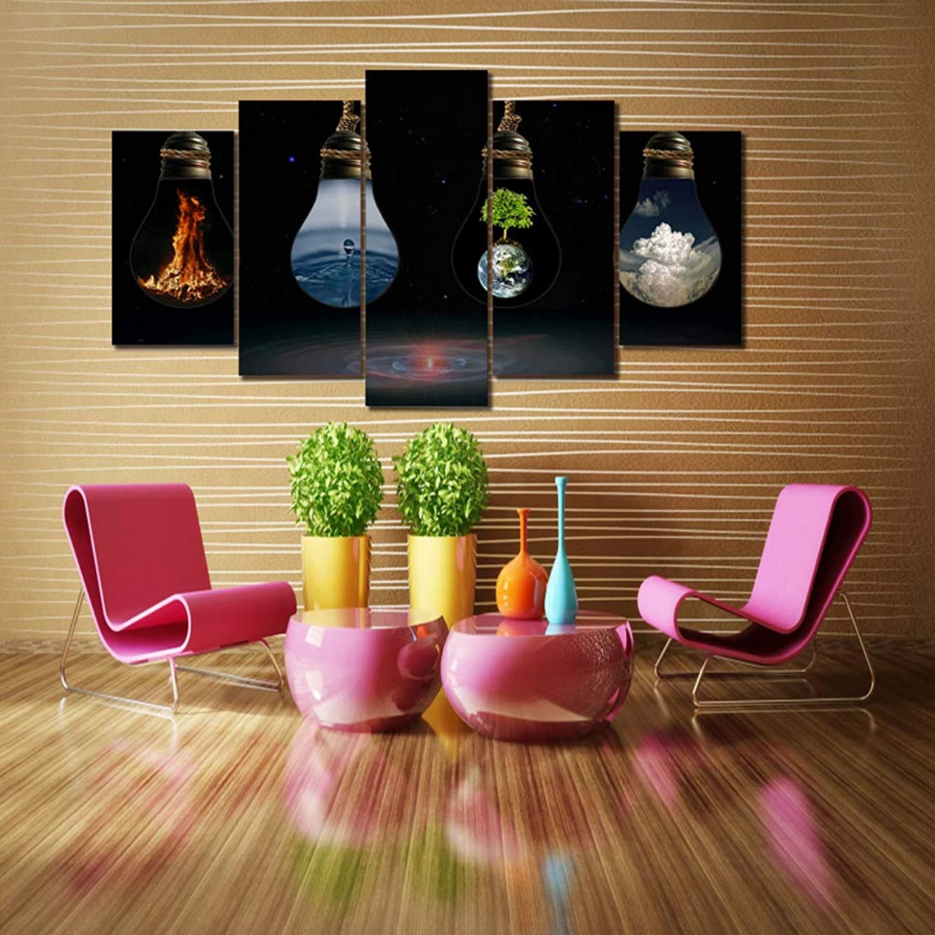 PEACOCK JEWELS [Large] Premium Quality Canvas Printed Wall Art Poster 5 Pieces / 5 Pannel Wall Decor Painting, Home Decor Pictures - Stretched