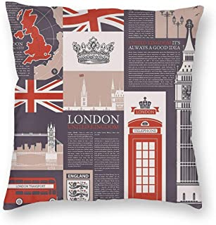 SARA NELL Velvet Throw Pillow Cases,Theme of UK and London,Pillow Covers Decorative 18x18 in Pillowcase Cushion Covers with Zipper