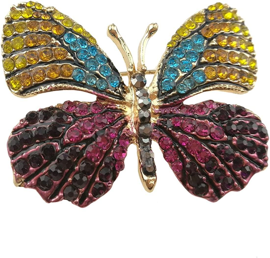Apol Fashion Exquisite Insect Themed Winged Butterfly Crystal Rhinestones Brooch Pin Breastpin for Clothes Collar Dress Scarf Decoration