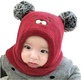 Baby Infant Pom Pom Knit Crochet Beanie Cap Scarf 2PCS Sets Winter Warm Hat for Baby Girls Boys