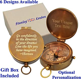 Stanley London Personalized Pocket Compass Gifts Engraved - 6 Designs - for Hiking, Graduation, Baptism, Confirmation, Anniversary, Men, Women, Him, Her, Husband, Dad, Son, Boyfriend