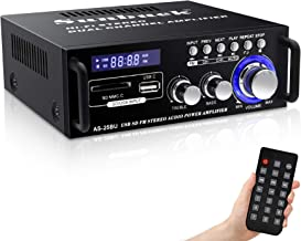 180W Wireless Bluetooth Stereo Amplifier, Sunbuck Dual Channel Sound Power Audio Receiver w/USB, SD Card, FM Radio for Hom...