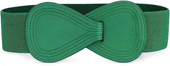 Allegra K Interlock Buckle 8-shaped Faux Leather Elastic Belt Cinch Waistband for Lady