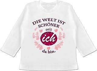 Shirtracer Sprüche Baby - Die Welt ist schöner seit ich da Bin. - Baby T-Shirt Langarm
