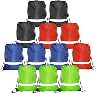 Drawstring Backpack Bags for Girls Boys 12 Pack, Promotional Sports Cinch Bags for Gym