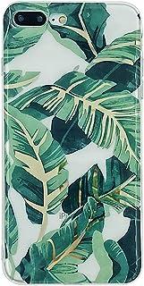 HolaStar Compatible con iPhone 7 Plus/8 Plus Funda, Hojas de Palma Verde Brillante con Tallo Dorado Cubierta Protectora pa...