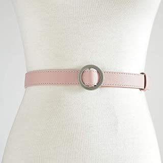 Lady Girl Both Men and Women Fine Matte Restoring Ancient Ways Round Buckle Contracted Belt (Color : Pink, Size : 105cm)