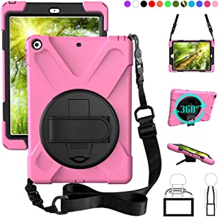 ZenRich New iPad 9.7 2017 2018 Case,360 Degree Rotatable with Kickstand,Hand Strap and Shoulder Strap case, 3 Layer Hybrid Heavy Duty Shockproof case for iPad 9.7 5th/6th Generation (Pink)