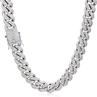 PY Bling Mens Iced Out Hip Hop 12mm Miami Cuban Link Chain Choker 14K/18K Gold White Gold Plated CZ Lab Diamond Necklace/Bracelet 8