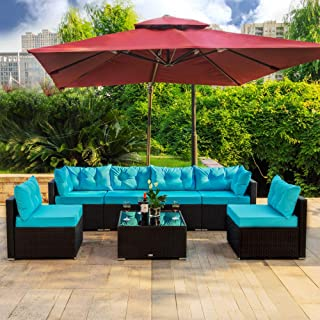 Amooly 7 Pieces Patio PE Rattan Sofa Set Outdoor Sectional Furniture Wicker Chair Conversation Set with Cushions and Tea Table