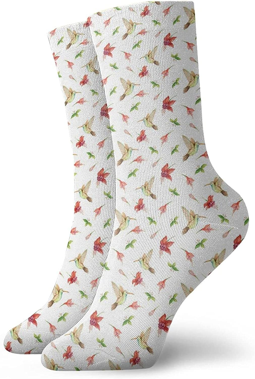 Compression High Socks-Artistic Pattern With Exotic Jungle Vegetation Flowers Buds And Flying Birds Best for Running,Athletic,Hiking,Travel,Flight