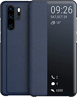 comprar comparacion KANSI Compatible con Huawei P30 Pro Funda, Smart View Flip Funda de Cuero + Protector Pantalla - Marina