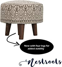 Nestroots Printed Ottoman Cushion Footrest Stool Pouf - 4 Wooden Legs Added Stability (Off-White Printed)