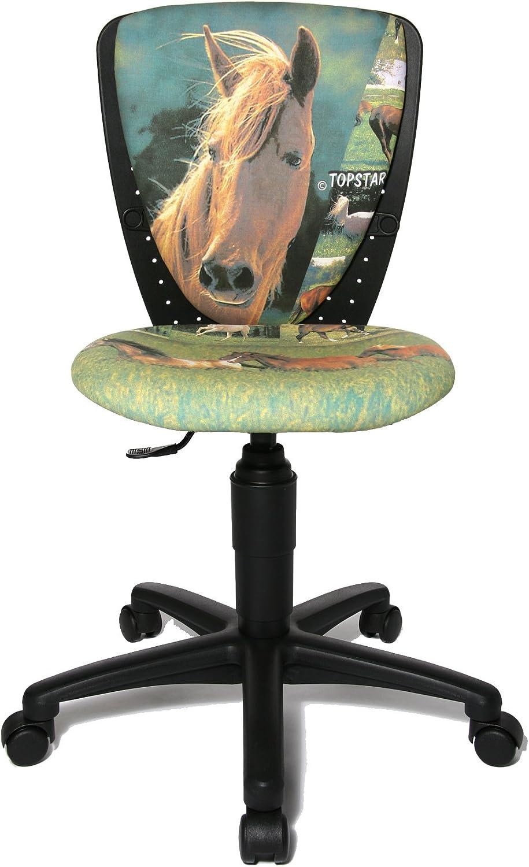 Topstar S'cool 3, Kinderdrehstuhl, Schreibtischstuhl für Kinder, Bezugsstoff grün, Motiv Pferde