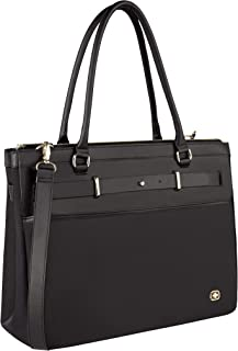 "Wenger 605496 ZOE 16"" Women's Business Tote Bag, Padded laptop compartment with Expandable Main Compartment in Black {14 Litres}"