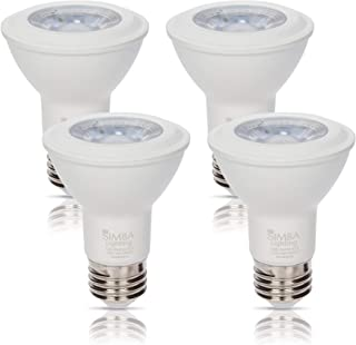 Simba Lighting LED PAR20 Light Bulb 6W 38deg Spotlight Dimmable (4-Pack) for Indoor Recessed Can, Range Hood and Outdoor PAR 20, 120V E26 Base, 40W to 50W Halogen Replacement, 3000K Soft White