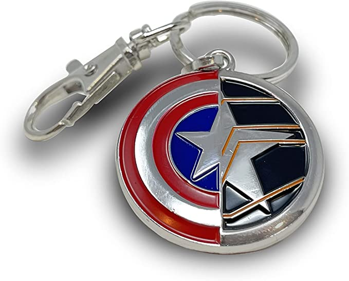 The Winter Soldier & Captain America Keychain, Official Marvel Studios Disney+ The Falcon & The Winter Soldier Keychain