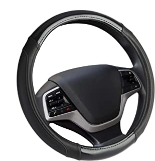 Elantrip Leather Auto Steering Wheel Cover Carbon Fiber 14 1/2 inch to 15 inch,for Car Truck SUV Jeep (Black)