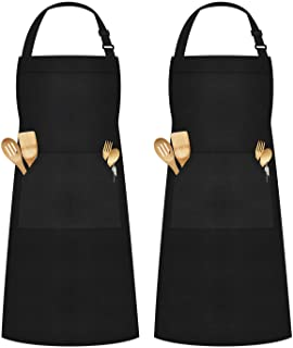 Syntus Thicker Version Waterproof Apron Adjustable Bib Apron with Large Pocket Cooking Kitchen Aprons for Women Men, Chef,...