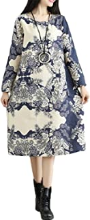 Dataiyang Chic Women's Plus Velvet Winter Folk Style Mid-Long Dresses