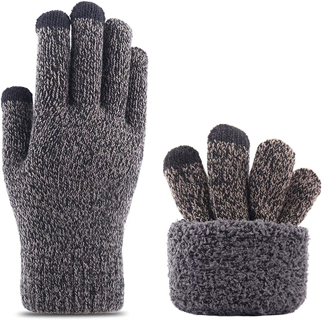 Touch Screen Knitted Gloves Men Women Thicken Wool Mitten Outdoors Anti-Slip Warmer Couple Gloves Double Layer grey