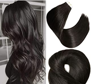Tape In Remy Human Hair Extensions 8A 20pcs 50g Per Set #1B Natural Black Remy Hair Extensions Seamless Skin Weft Remy Silk Straight Hair Glue in Extensions Glue in Extensions Human Hair 14 Inch
