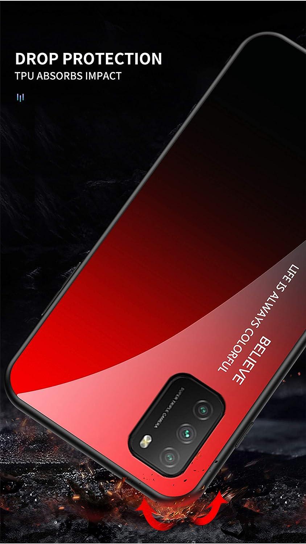 FINEONE Coque pour T/él/éphone Xiaomi Poco M3 /Étui Bleu Noir Antichoc Anti Rayures Silicone Cadre Hybride Case Cover Verre Tremp/é de Couleur D/égrad/ée Etui Housse Arri/ère Mobile