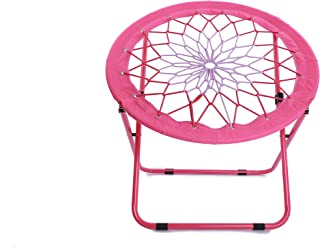 Camp Field Camping and Room Bungee Folding Dish Chair for Room Garden and Outdoor (Pink)