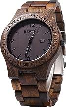 Bewell W086B Mens Wooden Watch Analog Quartz Lightweight Handmade Wood Wrist Watch