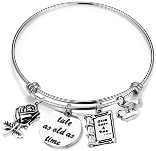 SEIRAA Tale as Old as Time Belle Rose Bangle Bracelet Beauty and the Beast Inspired Bangle Jewelry