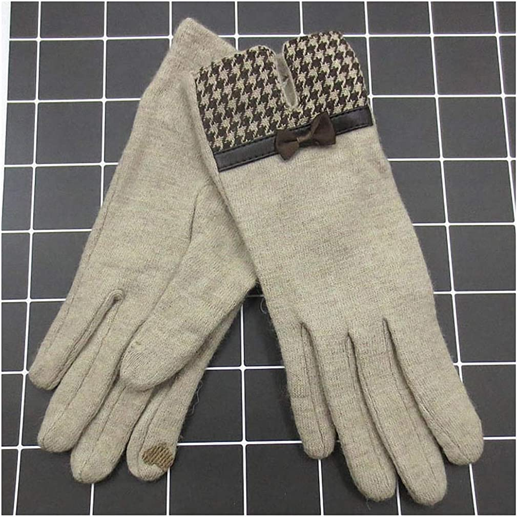 Barsly Women Touch Mitten Gloves Warm Cashmere Full Finger Leather Bow Wool Embroidery