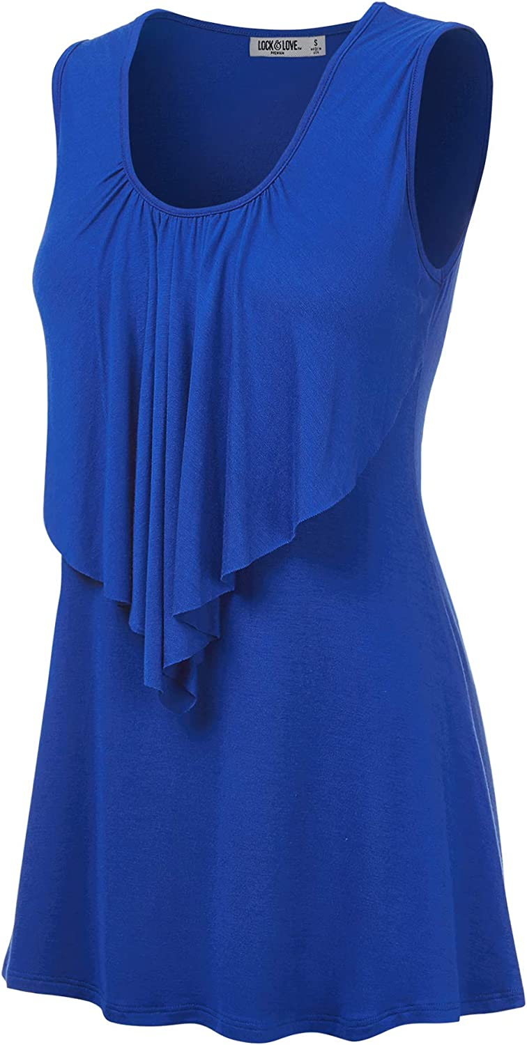 Lock and Love LL Women's Solid Tank Ruffled Purchase New Orleans Mall Front Sleeveless Top