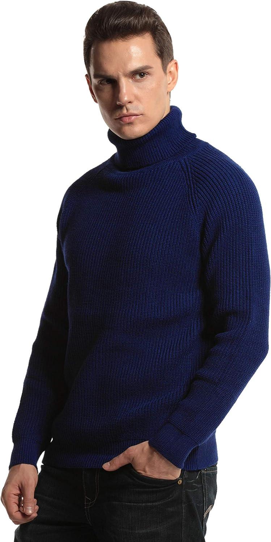 PrettyGuide Men's Turtleneck Sweater Knit Pullover 高品質新品 Cable Ribbed 国内即発送