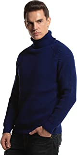 PrettyGuide Men's Turtleneck Sweater Ribbed Cable Knit Pullover Sweater Tops