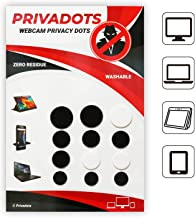 Privadots Innovative Webcam Cover Sticker 12 Pack, Reusable Web Camera Stickers for Laptop Dell, Hp, Lenovo, Surface, MacBook, Desktop, Ipad, Tablet, Echo Show - Protect Your Privacy (9Black-3White)