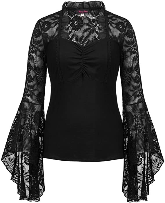Steampunk Plus Size Clothing & Costumes Hanna Nikole Womens Vintage Gothic Lace Flare Sleeves T Shirt Tops Victorian Blouse  AT vintagedancer.com