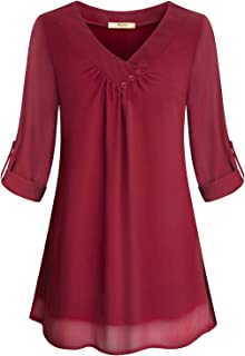 Womens Roll-Up Long Sleeve Top Casual V Neck Layered Chiffon Blouses