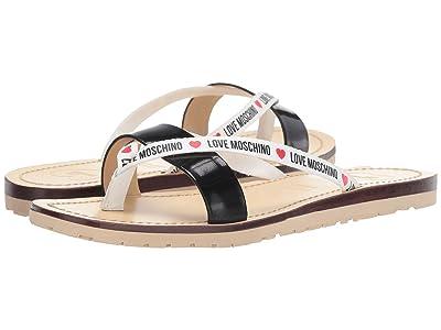 LOVE Moschino Love Moschino Logo Sandal (Black/White) Women
