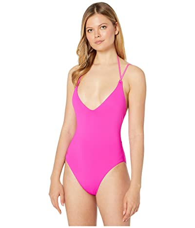 Polo Ralph Lauren Modern Solids Lingerie Strap Lace Back Mio One-Piece (Fuchsia) Women