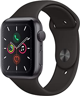 Apple Watch Serie 5 con GPS, Watch, 44mm, Aluminio gris espacial con banda deportiva negra.