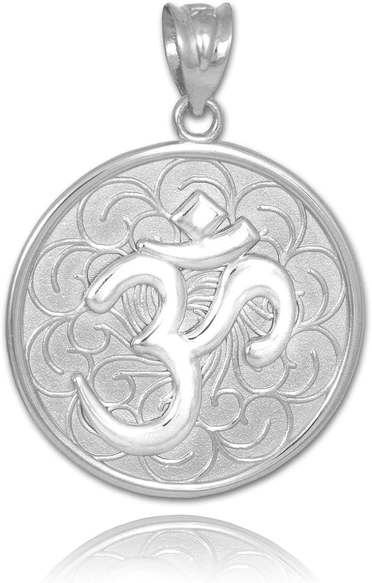 14k White Gold Om (Aum) Medallion Pendant