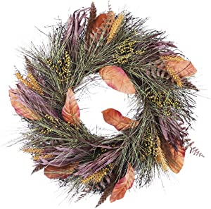 Valery Madelyn 24 inch Fall Wreath with Berries, Leaves and Pine Needle, Hrvest Wreath for Front Door and Thanksgiving Decorations