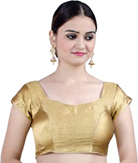 Women's Party Wear Bollywood Readymade Indian Style Saree Blouse Padded Brocade Choli (B106)