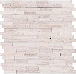 Vogue Peel & Stick Light Athens Gray Honed Brick Pattern Mosaics for Kitchen Backsplashes, Wall Fireplace Tile (1)