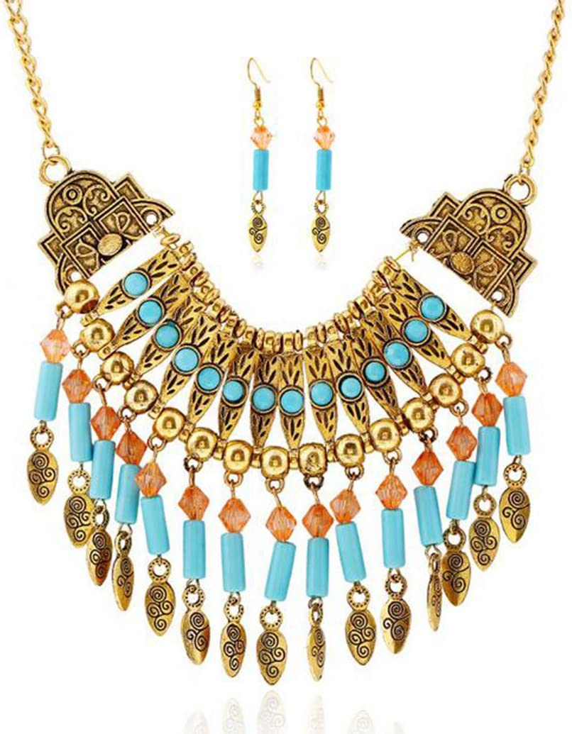 CrazyPiercing Ethnic Tribal Boho Necklace Earrings Set, Vintage Alloy Gold Boho Bohemian Necklace, Turquoise Beads Statement Necklace and Earrings Jewelry Set for Women Girls