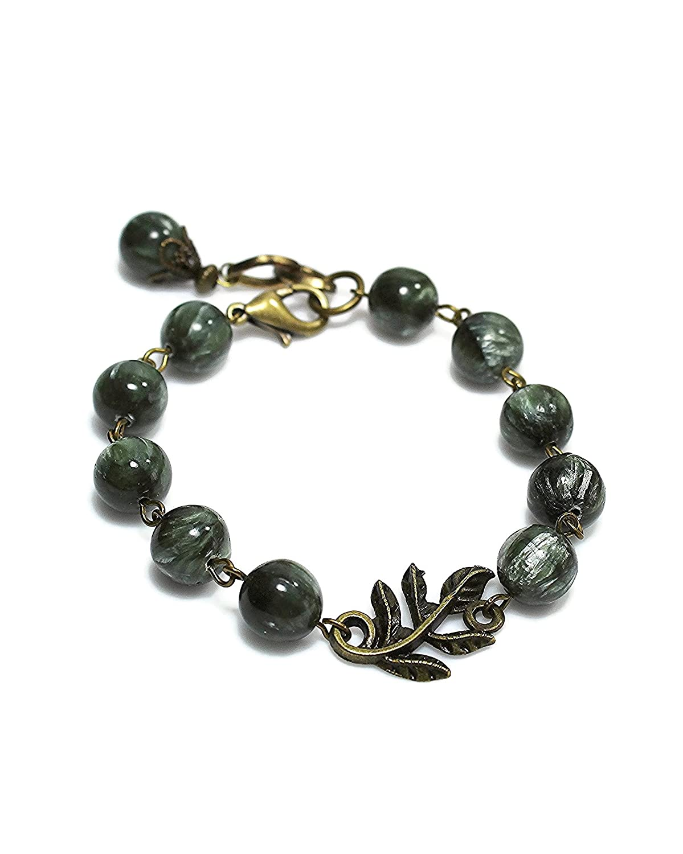 Classic Russian Seraphinite Gemstone Bracelet Green Stone Dark Some reservation Natural
