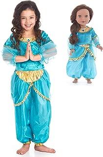 Little Adventures Arabian Princess Dress Up Costume & Matching Doll Dress (Small Age 1-3)